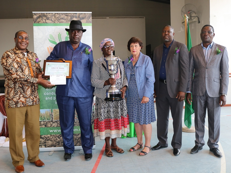Mr. Lifasi Munsu, crowned as the National Communal Dry-Land Maize Champion Farmer Of The Year.